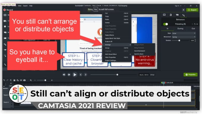 Camtasia 2021 Review: You still can't align or distribute objects. (So, you have to eyeball it...)
