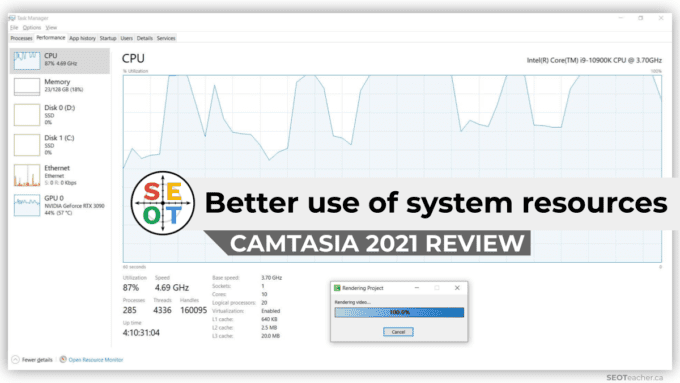 Camtasia 2021 Review - better use of system resources. Screenshot of CPU usage during render of video with Camtasia 2021. Average utilization of 10 core (i9) was 87% at 4.69 GHz.